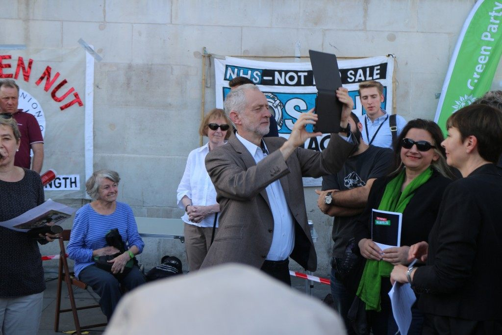Jeremy Corbyn surveys the crowd