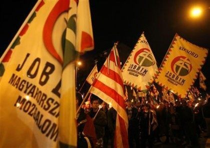 Supporters of the Hungarian far-right Jobbik party attend a demonstration in Miskolc
