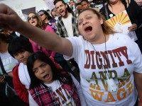 Minimum Wage protest, California (Robyn Beck / AFP / Getty)