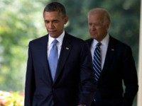 Obama and Biden leave the Rose Garden
