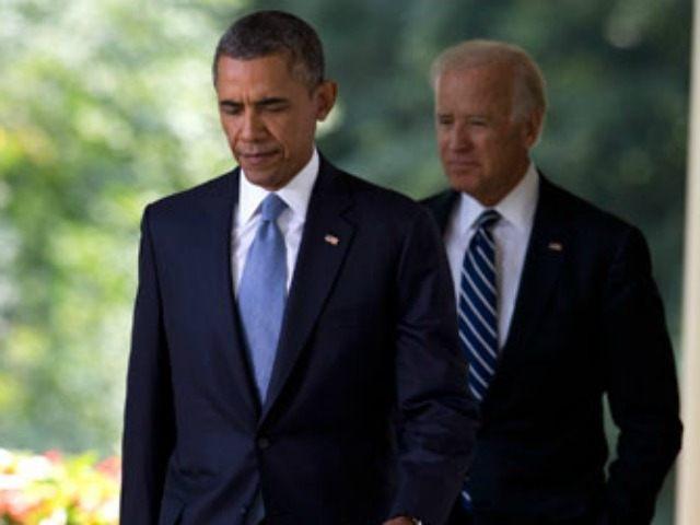 Obama and Biden leave the Rose Garden