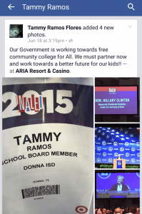 Screen capture of Tomasa Ramos Facebook post where she talks about the trip to Vegas to see Hillary Clinton