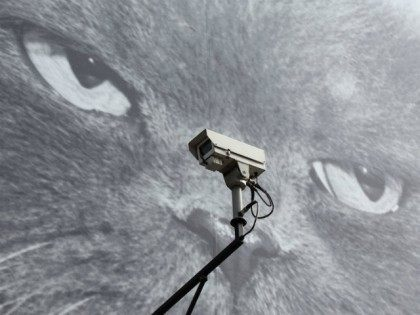 CCTV camera is positioned in front of a giant poster of a cat on April 30, 2014 in London, England. Privacy campaigners have stated that Town halls in the UK have been using fixed and mobile CCTV cameras to impose parking and traffic fines on members of the public with …