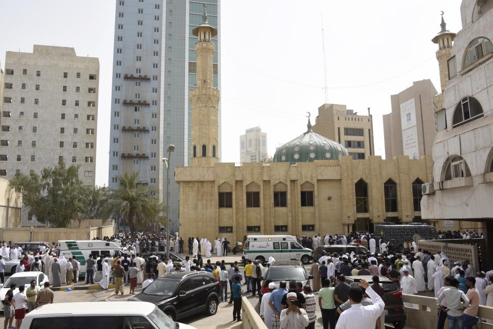 Ambulances park in front of the Imam Sadiq Mosque after a bomb explosion following Friday prayers, in the Al Sawaber area of Kuwait City June 26, 2015.   REUTERS/Jassim Mohammed
