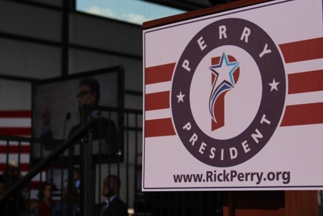 Stage where Perry would later deliver his announcement speech. Photo by Cassi Pollock.