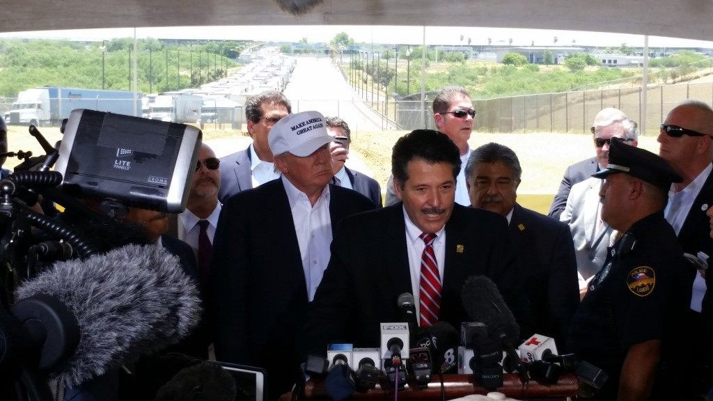 Donald Trump meets with Laredo officials at a highly secure commercial port of entry after last minute changes by officials. (Photo: Breitbart Texas/Ildefonso Ortiz)