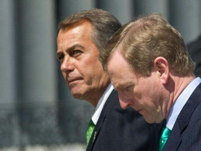 Irish Prime Minister Enda Kenny (R) and US House Speaker John Boehner walk back to the US Capitol after taking leave from US President Barack Obama after the Friends of Ireland luncheon in Washington on March 19, 2013.
