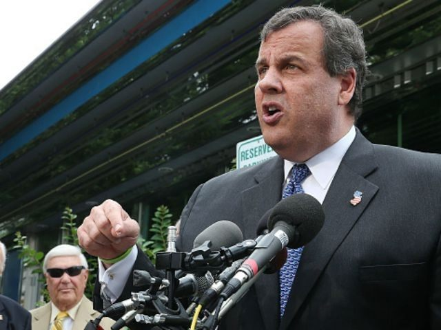 Republican presidentail candidate, New Jersey Gov. Chris Christie (L) speaks after receiving the endorsement of Maryland Gov. Larry Hogan (R) during a campaign stop at the Double T Diner July 15, 2015 in Annapolis, Maryland. Hogan joined Christie in meeting locals at the diner before speaking to the media.