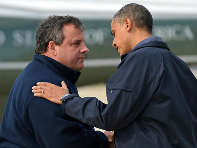 "Gov, Chris Christie of New Jersey, greeting President Obama in Atlantic City on Oct. 31, 2012 praised Mr. Obama as ""incredibly supportive."""