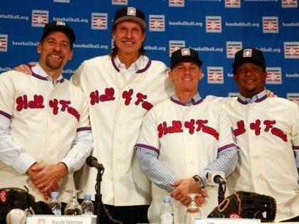 Craig Biggio, Randy Johnson, Pedro Martinez, and John Smoltz Getty