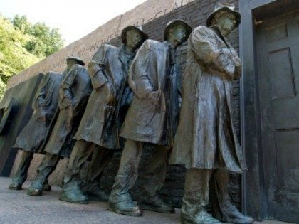 Statues of unemployed men standing in a unemployment line during the Great Depression at the Franklin Delano Roosevelt(FDR) Memorial September 20, 2012 in Washington, DC. During the first four years of FDR's term, nearly one-third of the American people were unemployed. AFP PHOTO / Karen BLEIER (Photo credit should read