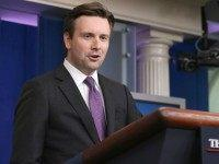 White House Press Secretary Josh Earnest makes a brief statement before taking reporters' questions in the James Brady Press Briefing Room at the White House June 12, 2015 in Washington, DC. Earnest took an optimistic perspective on the defeat of legislation in the House of Representatives that would have moved …