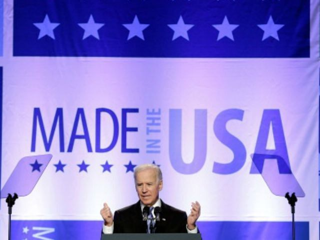 U.S. Vice President Joe Biden addresses the annual conference of the Export-Import Bank April 5, 2013 in Washington, DC. The conference brings together companies from around the world to meet U.S. exporters to learn how foreign buyers of American-made products and services can obtain loans with lower interest rates and …