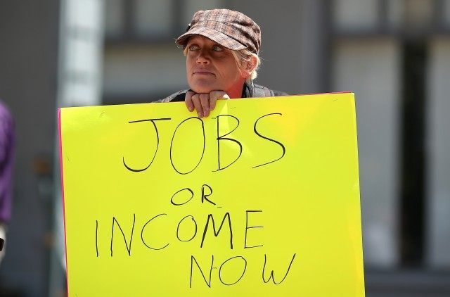 Union Of Unemployed Workers Protests Cut In Unemployment Benefits In Oakland