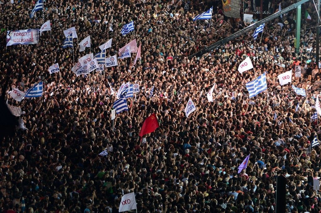 Thousands of 'NO' protesters gather in front of the parliament building in Athens on July 3, 2015. LOUISA GOULIAMAKI/AFP/Getty Images
