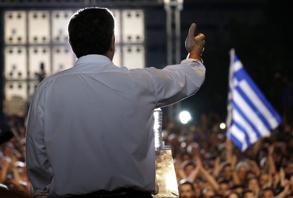 Greek Prime Minister Alexis Tsipras addresses an anti-austerity rally at the Syntagma square in Athens on July 3, 2015. Tsipras urged voters to ignore European scaremongering and vote 'No' for July 5 referendum as polls showed support swinging behind the 'Yes' campaign. YANNIS BEHRAKIS/AFP/Getty Images