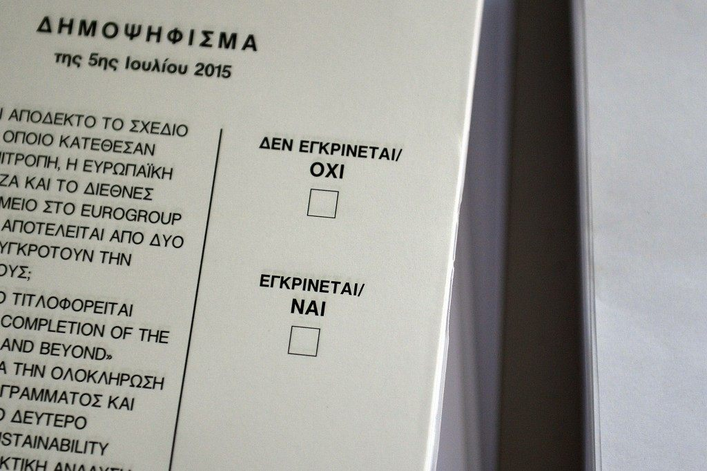A ballot at a polling station in Athens on the eve of the Greek referendum. LOUISA GOULIAMAKI/AFP/Getty Images