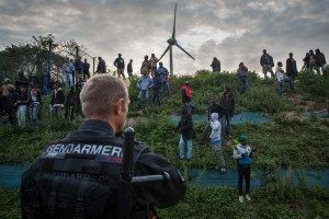Gendarmerie attempt to prevent people from entering the Eurotunnel terminal (Rob Stothard/Getty Images)