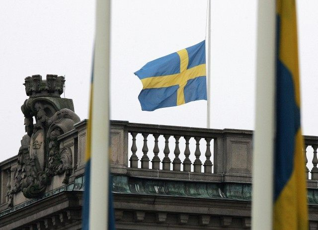 Swedish flags outside the Foreign Minist