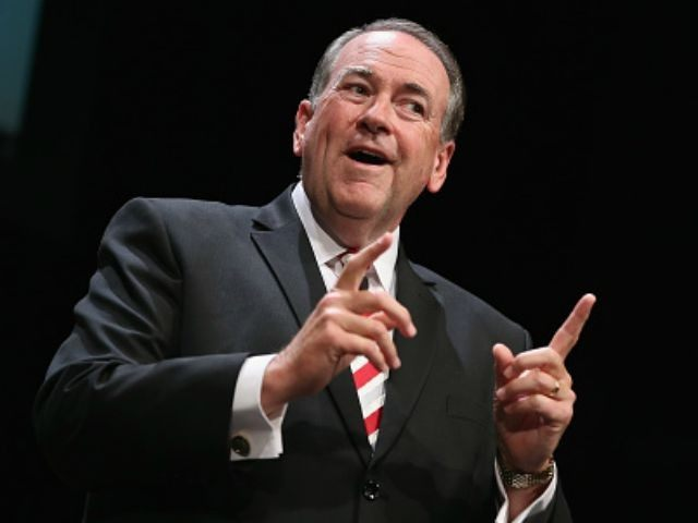 Republican presidential hopeful and former Arkansas Governor Mike Huckabee fields questions at The Family Leadership Summit at Stephens Auditorium on July 18, 2015 in Ames, Iowa. According to the organizers the purpose of The Family Leadership Summit is to inspire, motivate, and educate conservatives.
