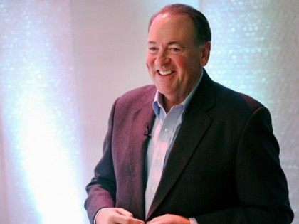 Former Arkansas Governor Mike Huckabee prepares to speak to guests gathered at the Point of Grace Church for the Iowa Faith and Freedom Coalition 2015 Spring Kickoff on April 25, 2015 in Waukee, Iowa. The Iowa Faith & Freedom Coalition, a conservative Christian organization, hosted 9 potential contenders for the …