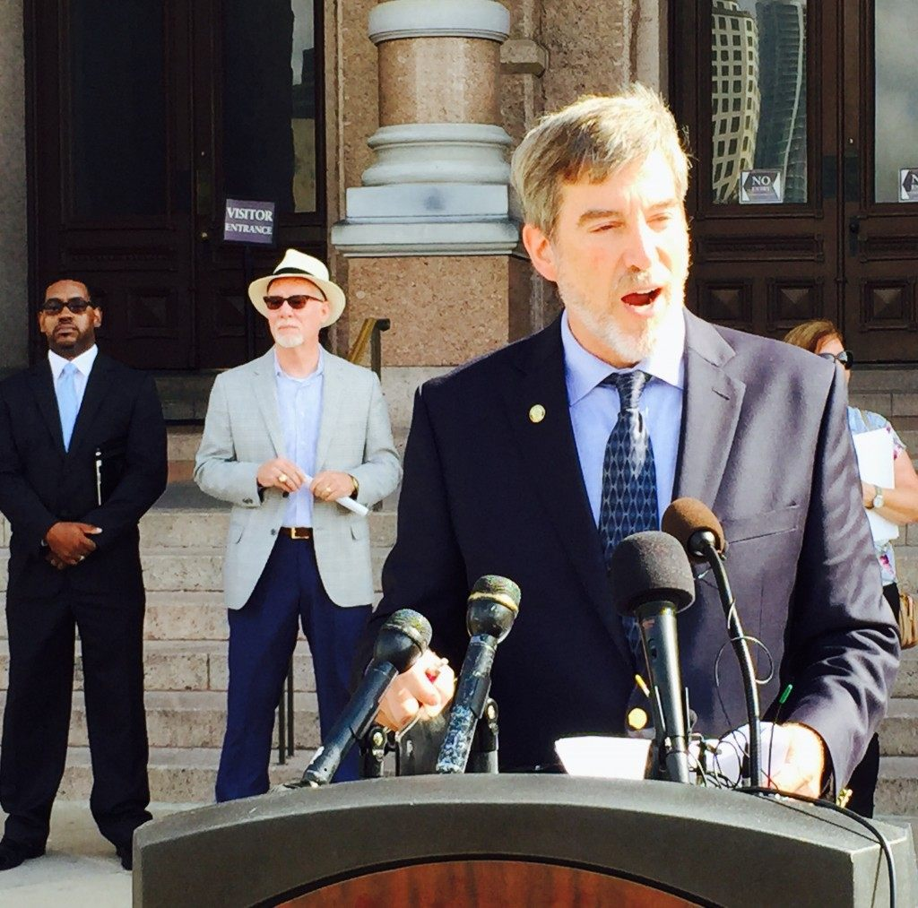 Texas Alliance for Life's Joe Pojman speaking on Texas Capitol steps. (Photo: Breitbart Texas/Lana Shadwick)
