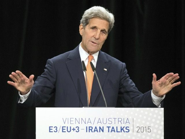 Secretary of State John Kerry speaks during the final press conference of Iran nuclear talks at Austria International Centre in Vienna, Austria on July 14, 2015. Major powers clinched a historic deal aimed at ensuring Iran does not obtain the nuclear bomb, opening up Tehran's stricken economy and potentially ending …