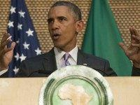 Barack Obama delivers a speech at the African Union Headquarters in Addis Ababa on July 28, 2015. US President Barack Obama said today that it was time for the world to change its approach to Africa, as he made the first address to the African Union by a US leader.