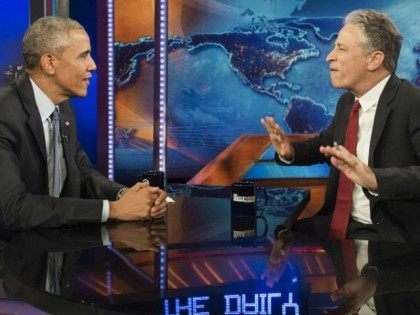 Barack Obama speaks with Jon Stewart, host of 'The Daily Show with Jon Stewart,' during a taping of the show in New York, July 21, 2015. The appearance marks Obama's third time on the show as President, and seventh overall.