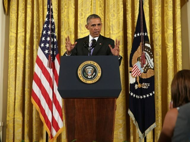 U.S President Barack Obama speaks during a press conference in the East Room of the White House in response to the Iran Nuclear Deal on July 15, 2015 in Washington, DC. The landmark deal will limit Iran's nuclear program in exchange for relief from international sanctions. The agreement, which comes …
