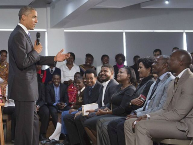Obama speaks during an event with representatives of Civil Society organizations at the Young African Leaders Initiative (YALI) Regional Leadership Center in Nairobi on July 26, 2015. Obama urged Kenya to renounce corruption and tribalism, delivering a rousing speech at the end of a landmark visit to the East African …