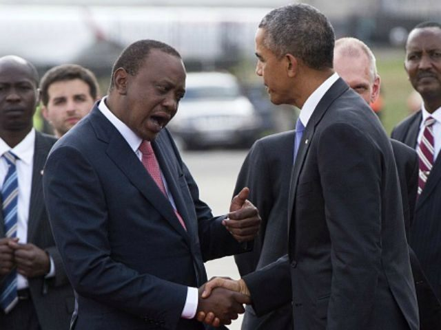 Barack Obama shakes hands with his Kenyan counterpart Uhuru Kenyatta (L) before boarding Air Force One prior to his departure from Kenyatta International Airport in Nairobi on July 26, 2015. Obama urged Kenya to renounce corruption and tribalism, delivering a rousing speech at the end of a landmark visit to …