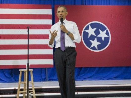 US President Barack Obama speaks about the Affordable Care Act, known as Obamacare, at Taylor Stratton Elementary School in Nashville, Tennessee, July 1, 2015.