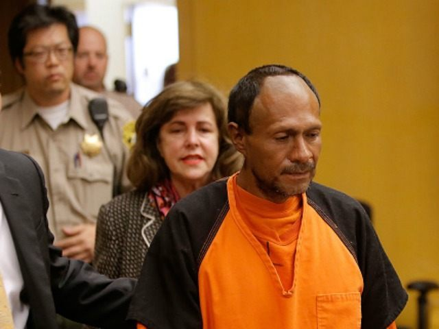 Francisco Sanchez (R) enters court for an arraignment with San Francisco public defender Jeff Adachi (L) on July 7, 2015 in San Francisco, California. Francisco Sanchez pleaded not guilty to charges that he shot and killed 32 year-old Kathryn Steinle as she walked on Pier 14 in San Francisco with …