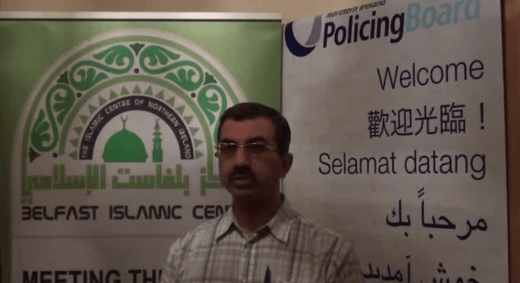 Al-Wazzan speaking about the Policing Board's Muslim Engagement Meeting