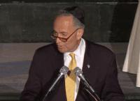 Charles Schumer at Agudath Israel (Screenshot / ourlli.org)