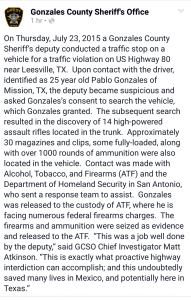 Facebook post made by Gonzales County Sheriffs Office