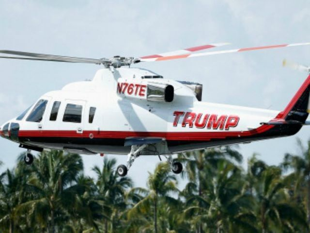 The Trump Organization helicopter lands on the course during a practice round prior to the start of the World Golf Championships-Cadillac Championship at Trump National Doral on March 5, 2014 in Doral, Florida.