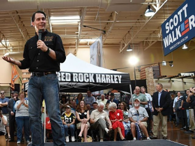 Wisconsin Gov. Scott Walker speaks at Red Rock Harley-Davidson on July 14, 2015 in Las Vegas, Nevada. Walker launched his campaign on Monday, joining 14 other Republican candidates for the 2016 presidential race.