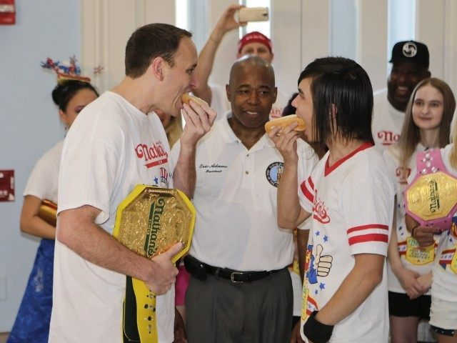 Eric Adams, Joey Chestnut, Matt Stonie