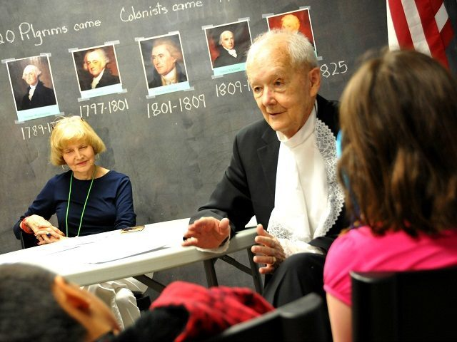 Jim Stinson impersonates America's first Vice President, and 2nd President John Adams and interacts with a class of students learning about the Founding Fathers. (Photo: Texas Patriot PAC/Luke) Bowen