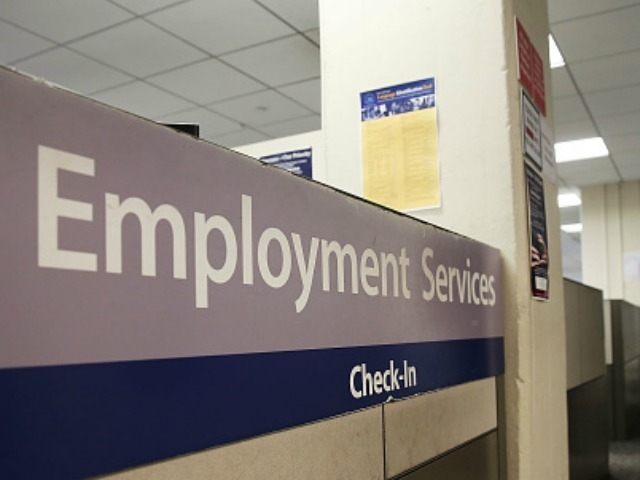 A New York Labor Department office is viewed in Manhattan on March 6, 2015 in New York City. Beating expectations, the Labor Department reported on Friday that employers added 295,000 workers in February. The robust numbers brought the unemployment rate down to 5.5 percent, its lowest since mid-2008.