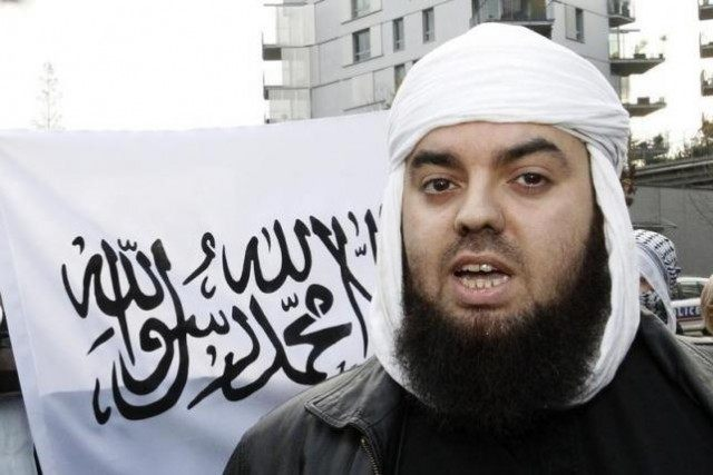 File photo of Mohammed Achamlane, leader of Forsane Alizza Islamic radical group, during a demonstration in Nantes