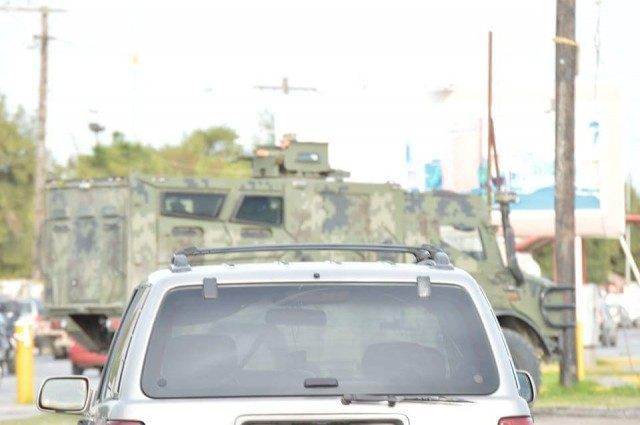 Mexican soldiers blocked off streets to keep civilians out of the crossfire as raging cartel gun battles continue in the border city of Matamoros.