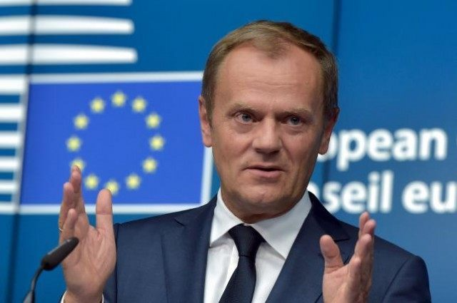 European Council President Tusk holds a news conference at the European Council headquarters after a European Union leaders summit in Brussels, Belgium