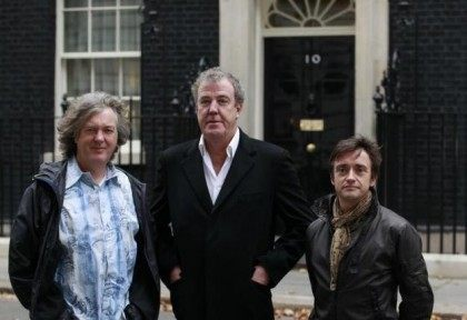 BBC automobile program Top Gear presenters James May, Jeremy Clarkson and Richard Hammond pose outside 10 Downing Street in London