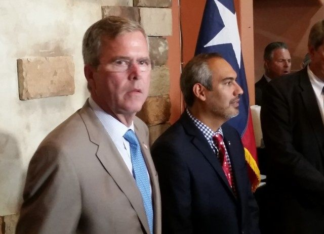 Jeb Bush speaks at a McAllen restaurant during his trip to the border