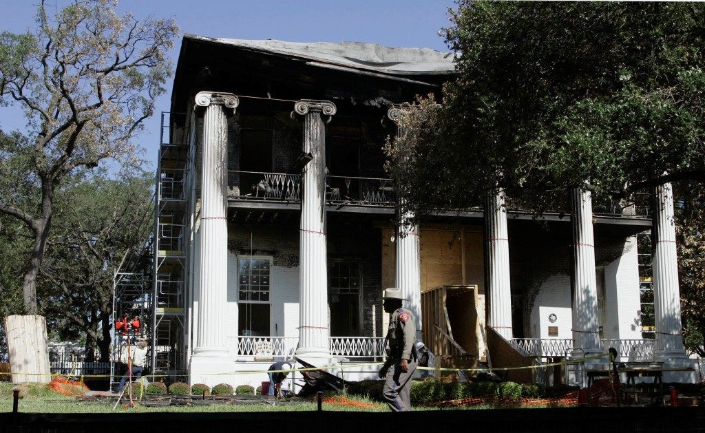 Texas Governor's Mansion nearly destroyed by fire in 2008. AP Photo/Harry Cabluck