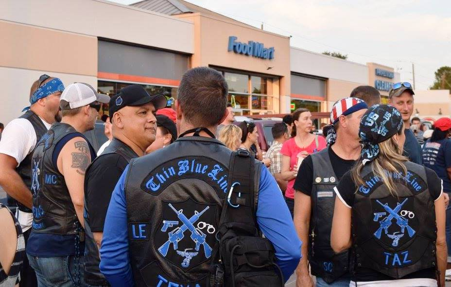 "Members of the ""Blue Lives Matter Motor Cycle Club"" were in attendance. (Photo: Breitbart Texas/Bob Price)"