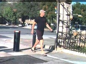 The unknown male had been captured on video entering the south entrance of the Capitol at 9:08 a.m., about five hours before the fire began.